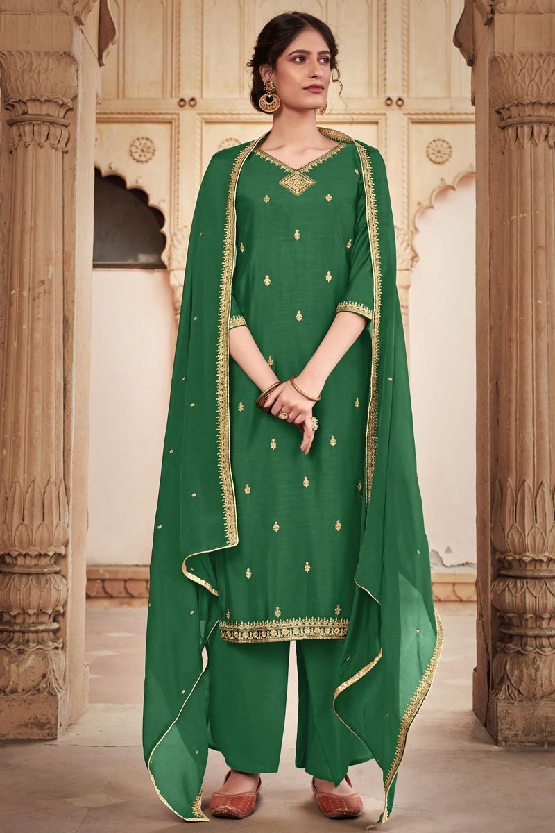 Embroidery Designs Green Color Cotton Silk Fabric Function Wear Palazzo Salwar Suit