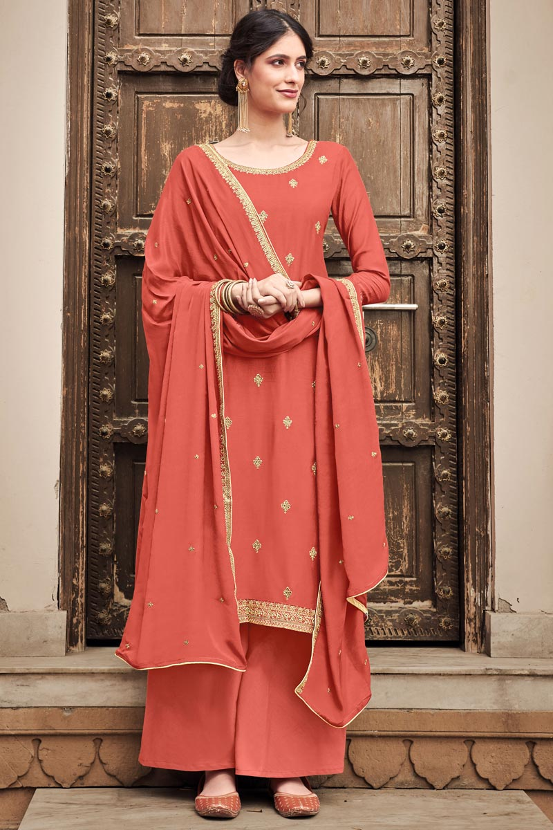 Embroidered Cotton Silk Fabric Peach Color Function Wear Palazzo Suit