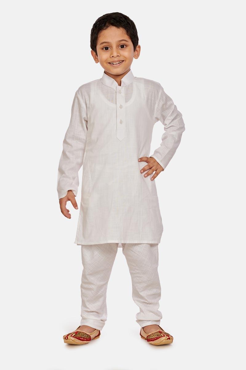 Function Wear Cotton Fabric Kurta Pyjama For Boys In White Color