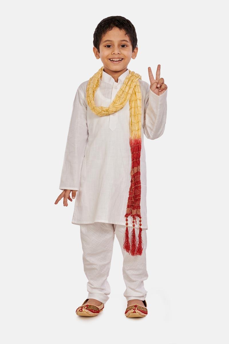 White Color Function Wear Cotton Fabric Kurta Pyjama For Boys