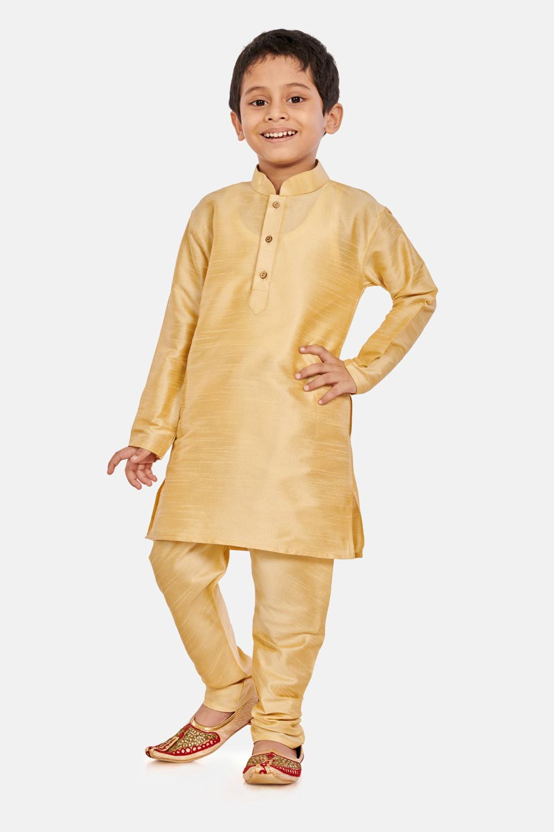 Cotton Silk Fabric Cream Color Function Wear Boys Kurta Pyjama