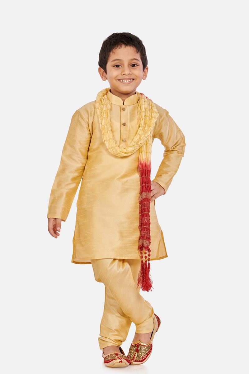 Sangeet Function Wear Cotton Silk Fabric Cream Color Kurta Pyjama For Boys