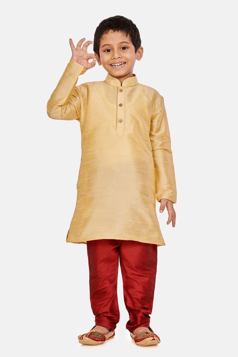 Traditional Wear Cotton Silk Fabric Cream Color Fancy Kurta Pyjama For Boys