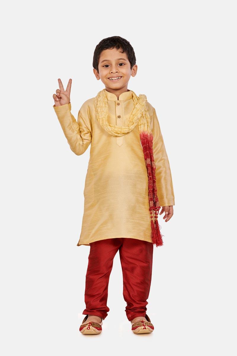 Cotton Silk Fabric Cream Color Traditional Wear Boys Fancy Kurta Pyjama