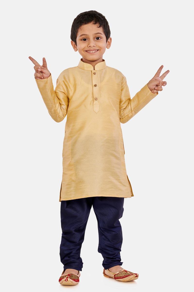 Cream Color Traditional Wear Cotton Silk Fabric Fancy Kurta Pyjama For Boys