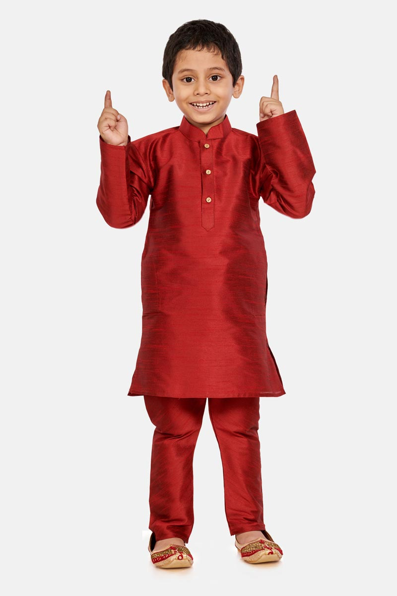 Traditional Wear Cotton Silk Fabric Fancy Kurta Pyjama For Boys In Maroon Color