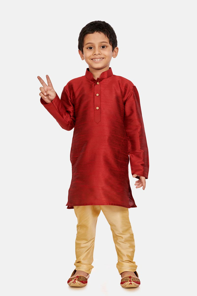 Occasion Wear Maroon Color Cotton Silk Fabric Boys Trendy Kurta Pyjama