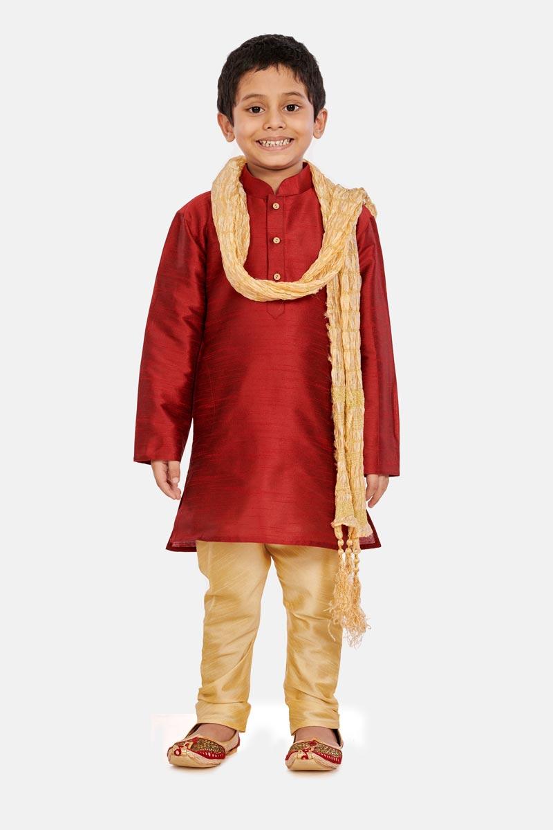 Cotton Silk Fabric Maroon Color Occasion Wear Boys Trendy Kurta Pyjama