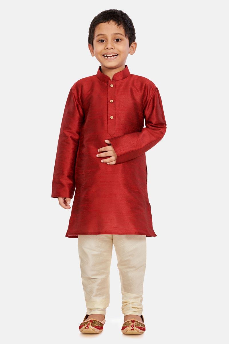 Occasion Wear Cotton Silk Fabric Maroon Color Trendy Kurta Pyjama For Boys