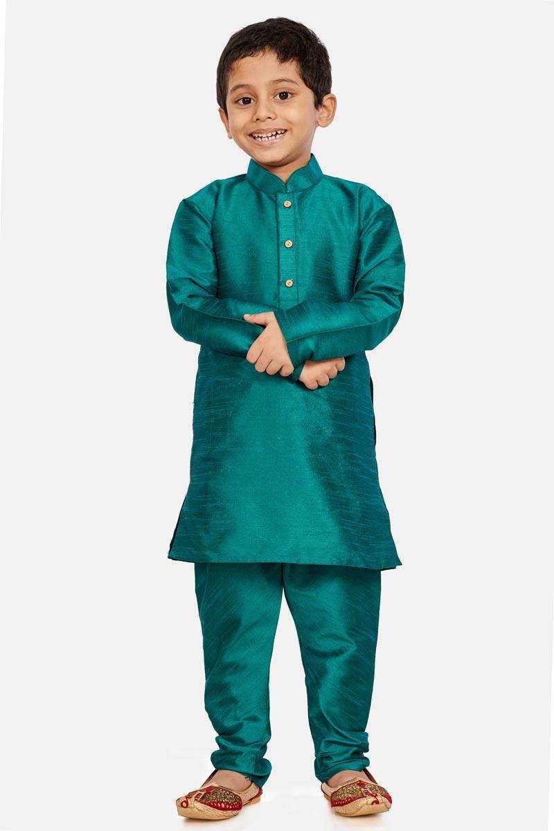 Teal Color Occasion Wear Cotton Silk Fabric Designer Kurta Pyjama For Boys
