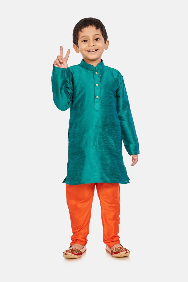 Sangeet Function Wear Designer Kurta Pyjama For Boys In Cotton Silk Fabric Teal Color
