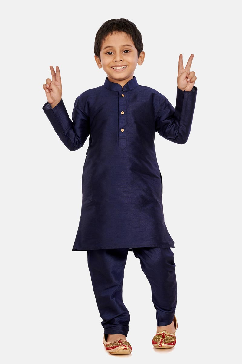 Navy Blue Color Cotton Silk Fabric Sangeet Function Wear Boys Designer Kurta Pyjama