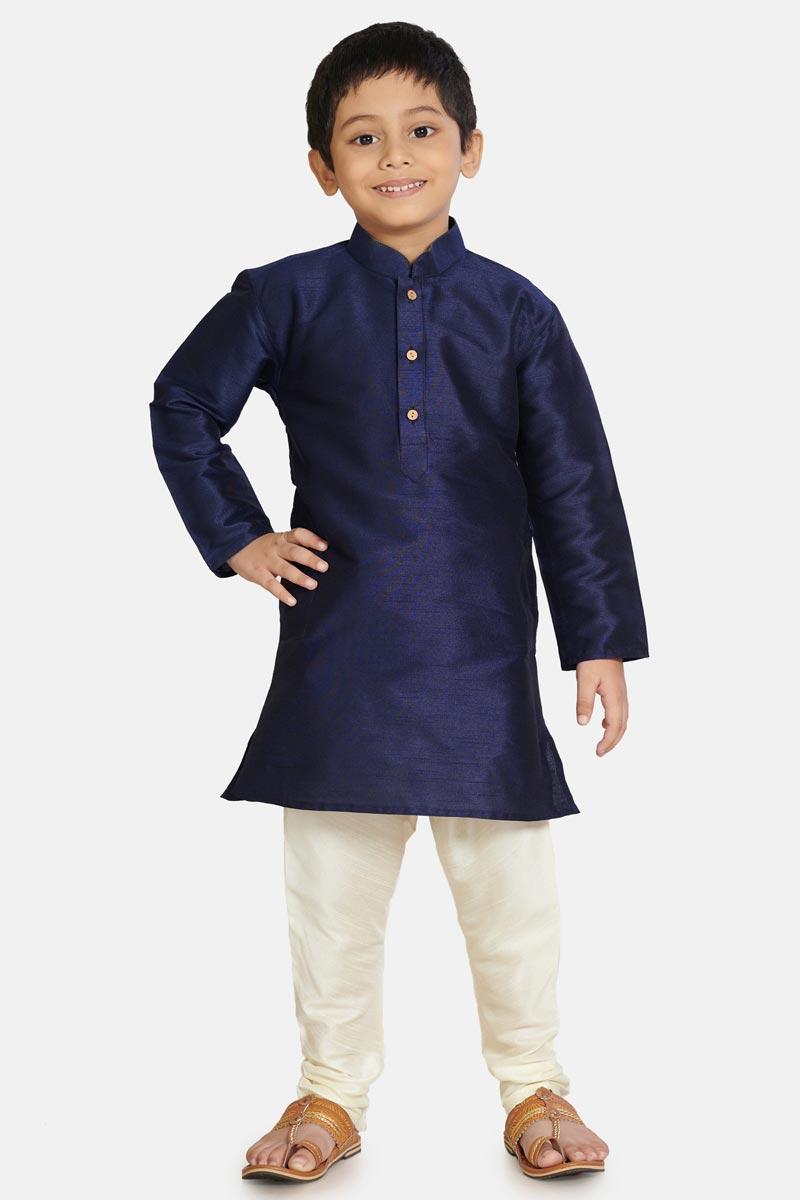 Sangeet Function Wear Navy Blue Color Cotton Silk Fabric Stylish Kurta Pyjama For Boys