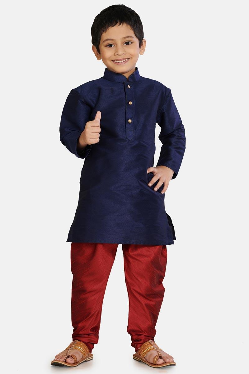 Navy Blue Color Function Wear Cotton Silk Fabric Stylish Kurta Pyjama For Boys