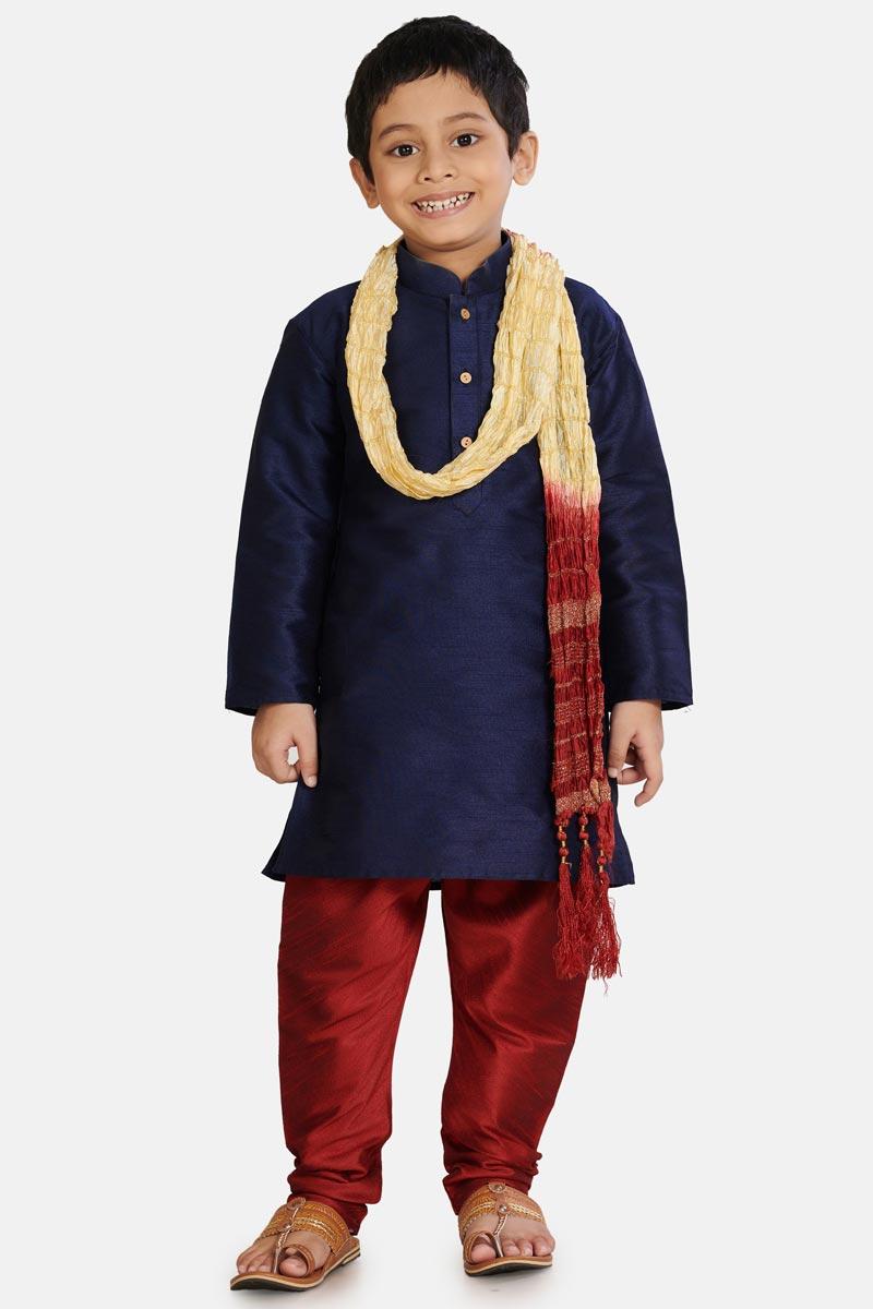 Cotton Silk Fabric Navy Blue Color Function Wear Boys Stylish Kurta Pyjama