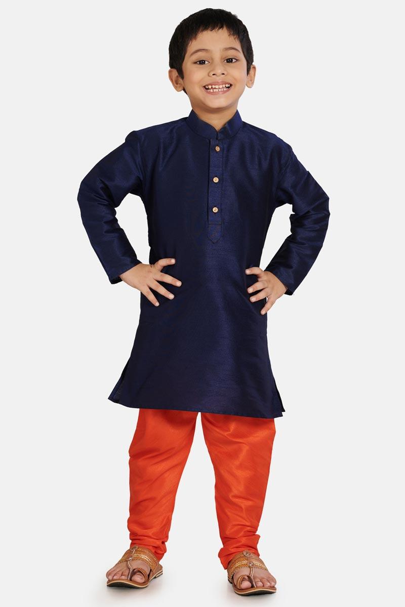 Sangeet Function Wear Cotton Silk Fabric Navy Blue Color Kurta Pyjama For Boys