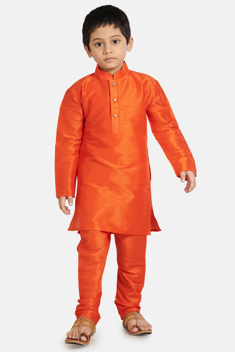 Function Wear Kurta Pyjama For Boys In Orange Color