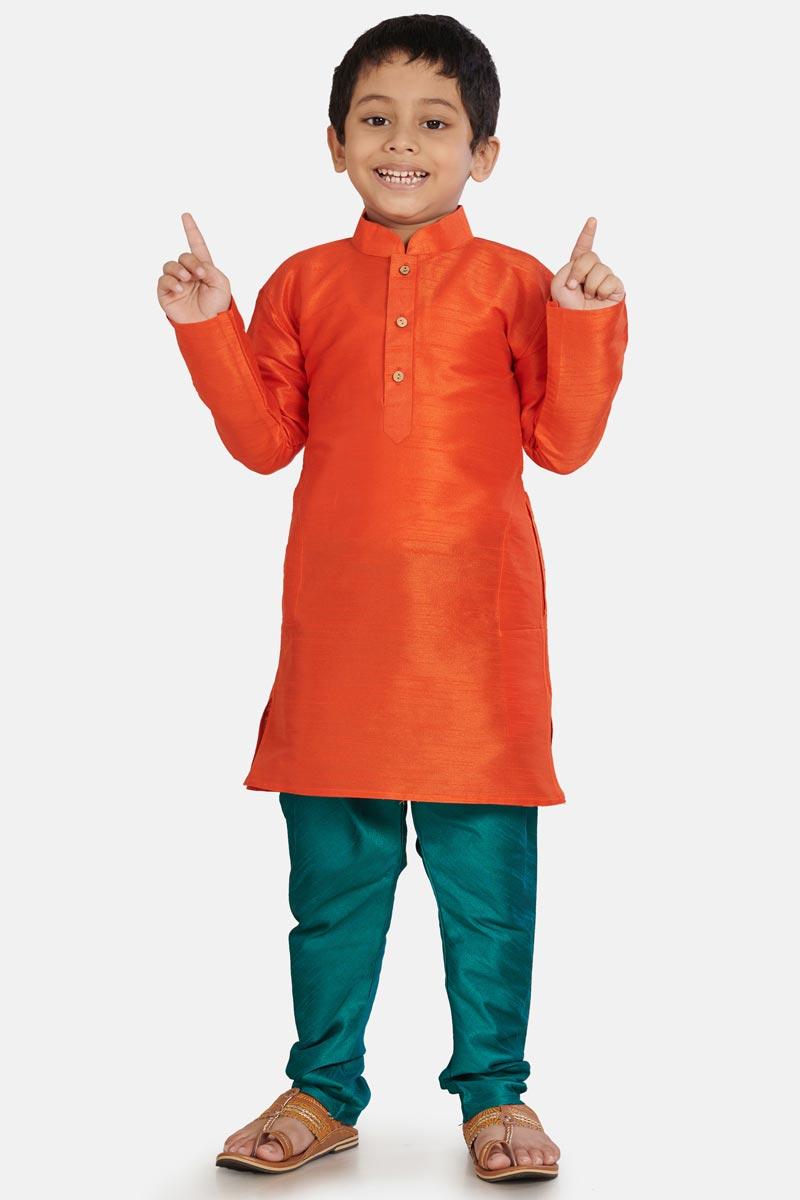 Orange Color Function Wear Kurta Pyjama For Boys