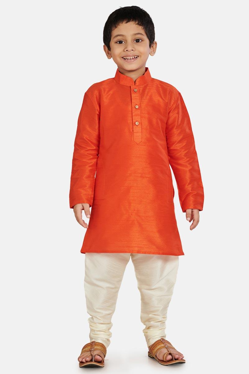 Orange Color Function Wear Boys Kurta Pyjama
