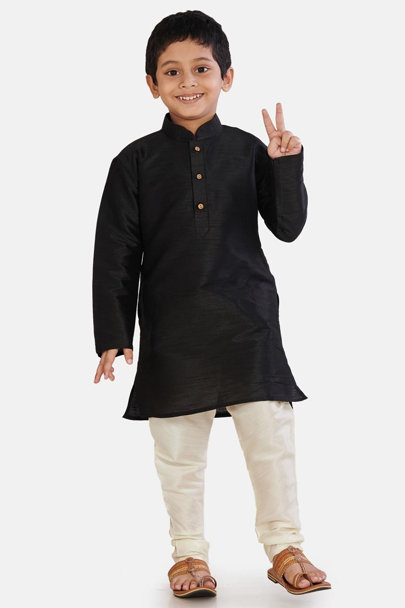 Cotton Silk Fabric Traditional Wear Boys Fancy Kurta Pyjama