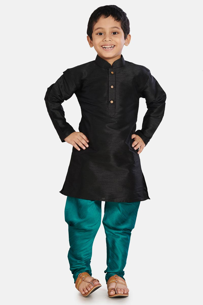 Cotton Silk Black Color Occasion Wear Boys Trendy Kurta Pyjama