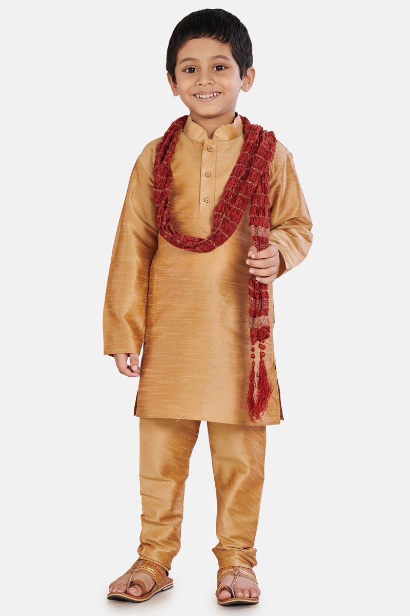 Coffee Occasion Wear Cotton Silk Fabric Designer Kurta Pyjama For Boys