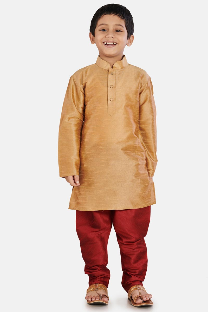 Occasion Wear Cotton Silk Fabric Designer Kurta Pyjama For Boys In Coffee