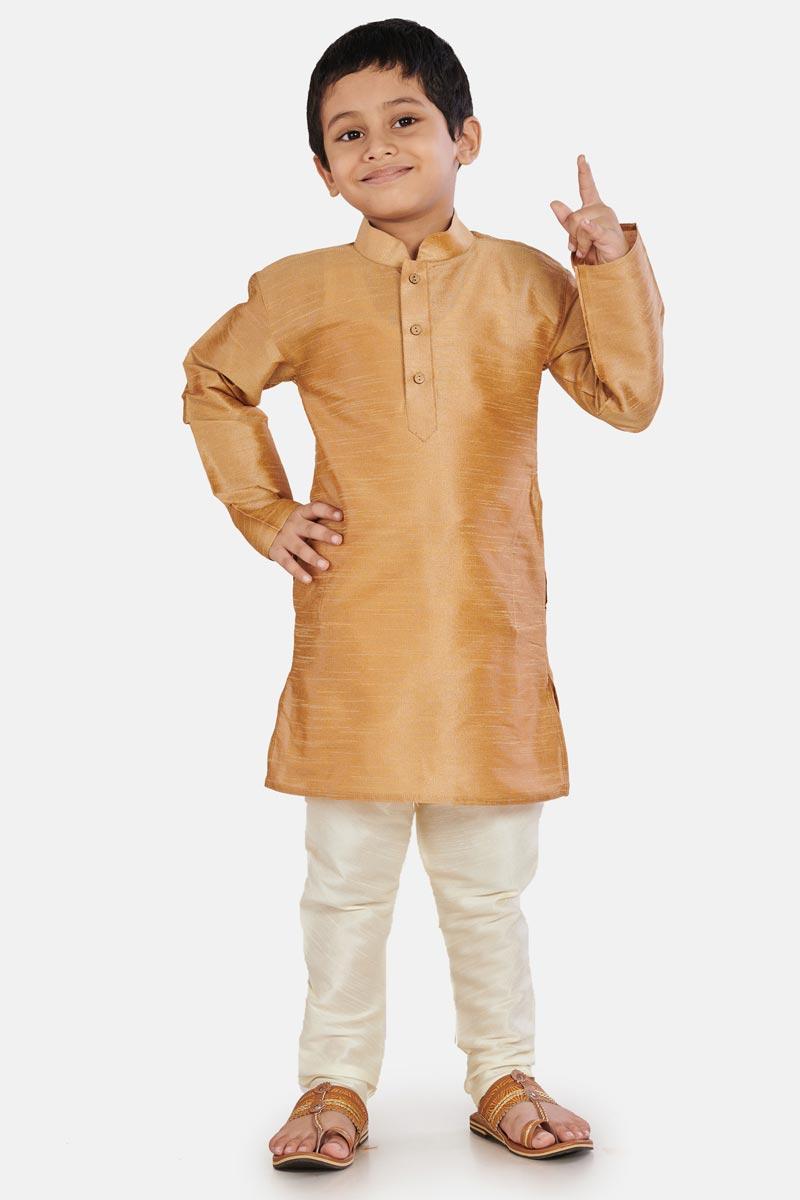 Coffee Cotton Silk Fabric Sangeet Function Wear Boys Designer Kurta Pyjama