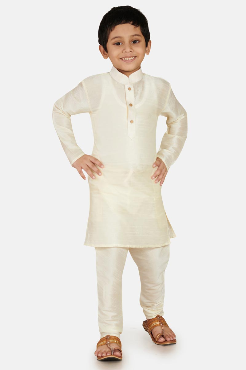 Sangeet Function Wear White Cotton Silk Stylish Kurta Pyjama For Boys