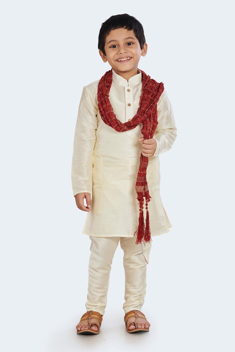 Function Wear Cotton Silk Stylish Kurta Pyjama For Boys In White