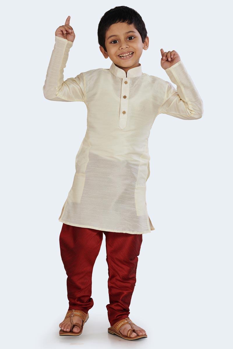 White Function Wear Cotton Silk Stylish Kurta Pyjama For Boys