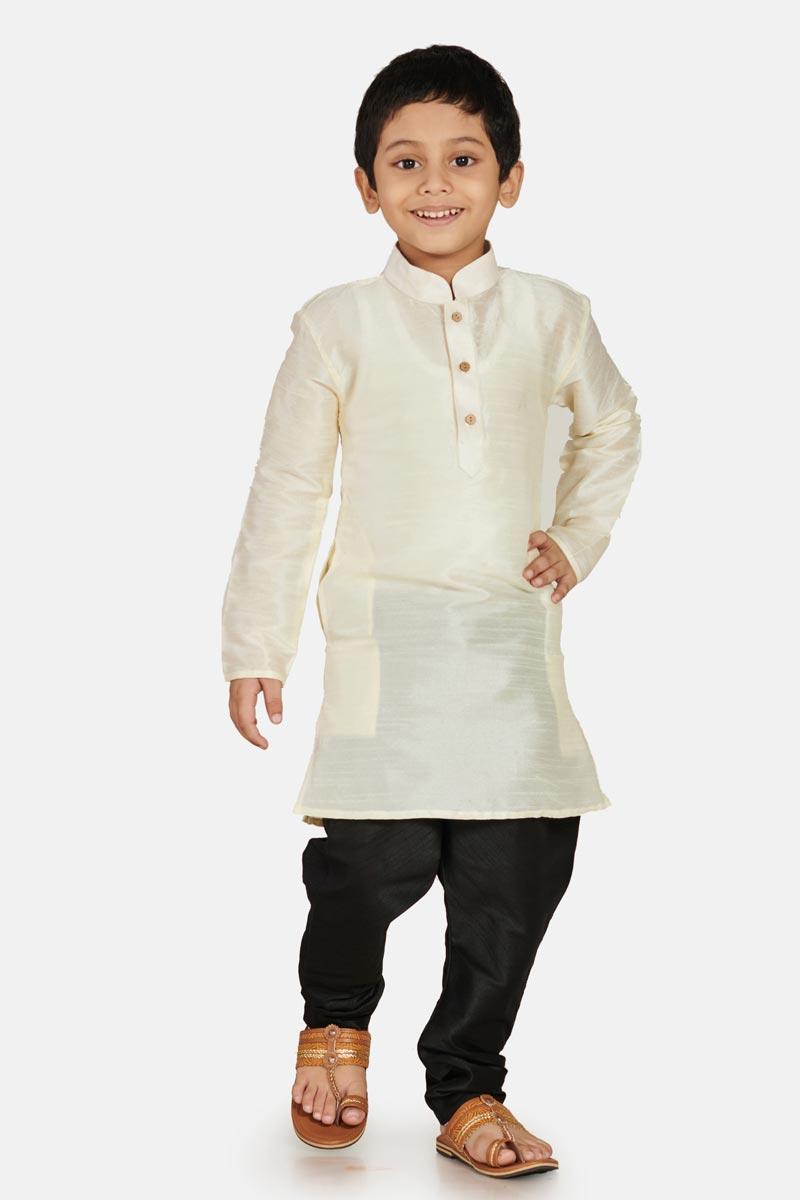 Cotton Silk White Function Wear Boys Stylish Kurta Pyjama