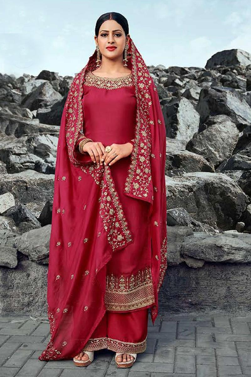 Chic Satin Georgette Fabric Festive Wear Embroidered Palazzo Dress In Red Color