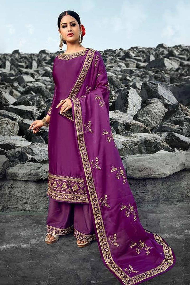 Festive Wear Chic Satin Georgette Fabric Purple Color Embroidered Palazzo Suit