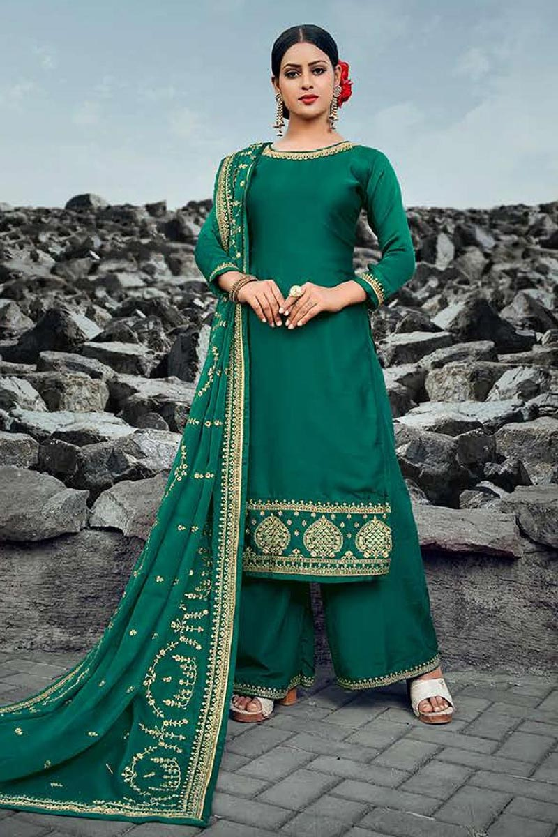Festive Wear Dark Green Color Chic Embroidered Satin Georgette Fabric Palazzo Suit