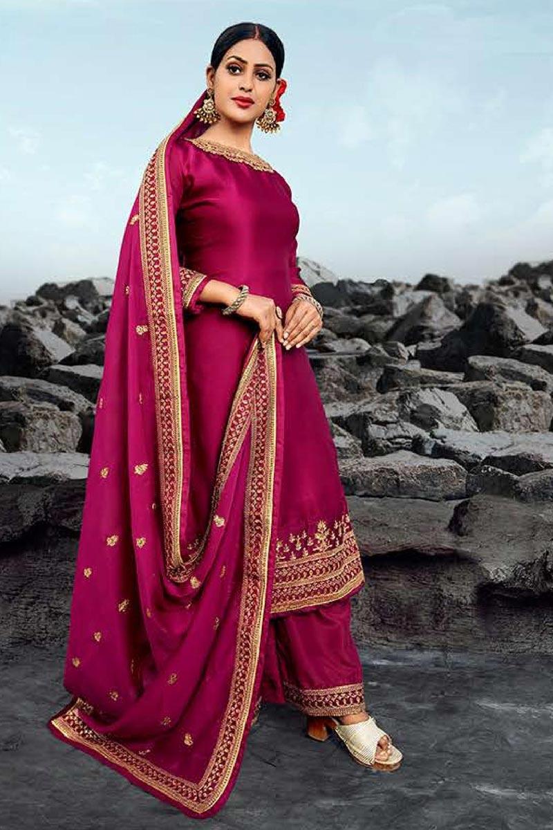 Rani Color Festive Wear Embroidered Chic Satin Georgette Fabric Palazzo Dress