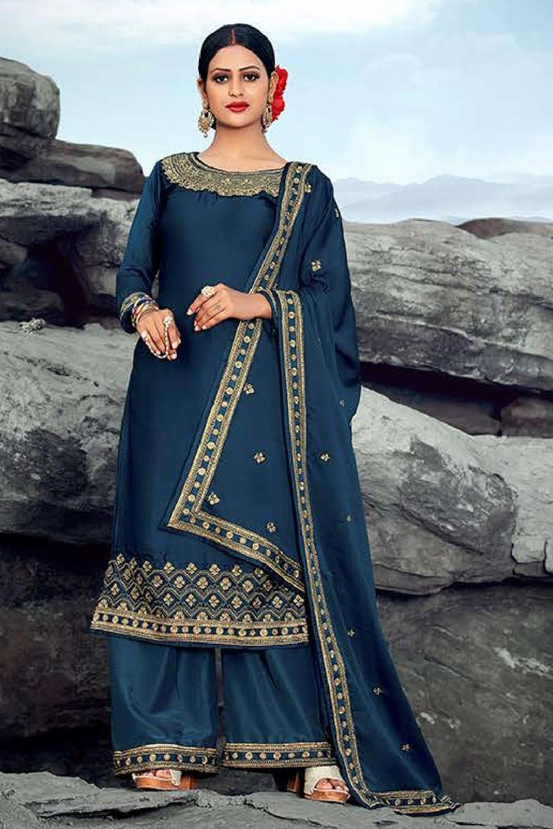 Festive Wear Navy Blue Color Chic Embroidered Palazzo Suit In Satin Georgette Fabric