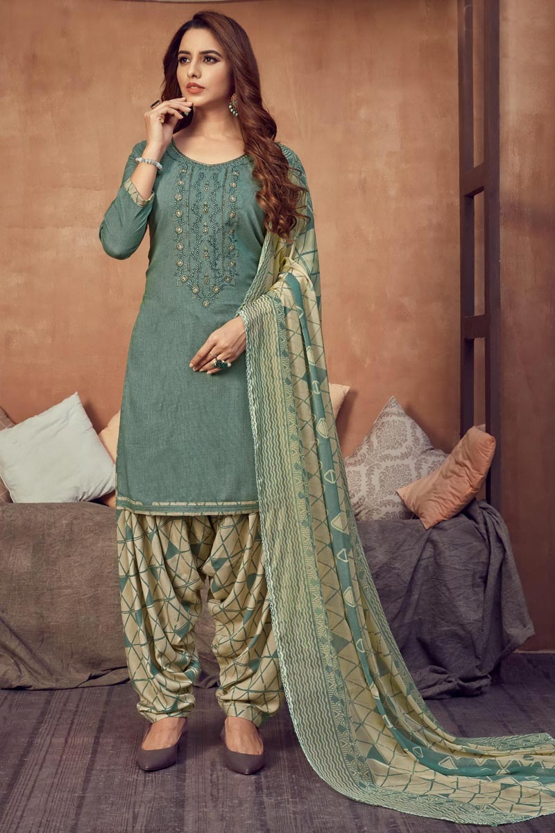 Grey Color Casual Wear Fancy Embroidered Patiala Dress In Rayon Fabric