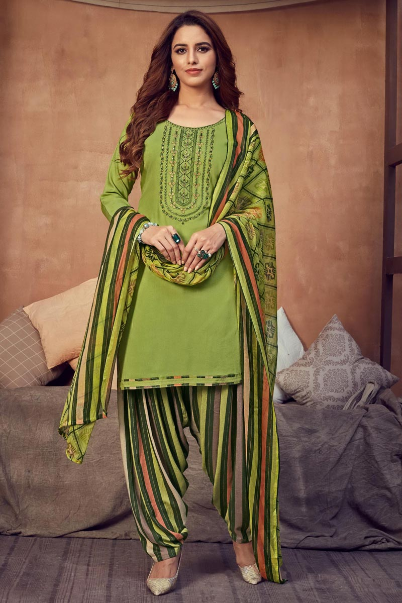 Fancy Casual Wear Rayon Fabric Green Color Embroidered Patiala Suit