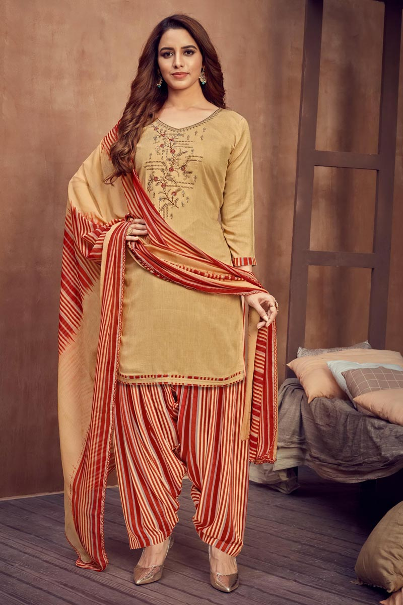 Casual Wear Cream Color Fancy Embroidered Patiala Dress In Rayon Fabric