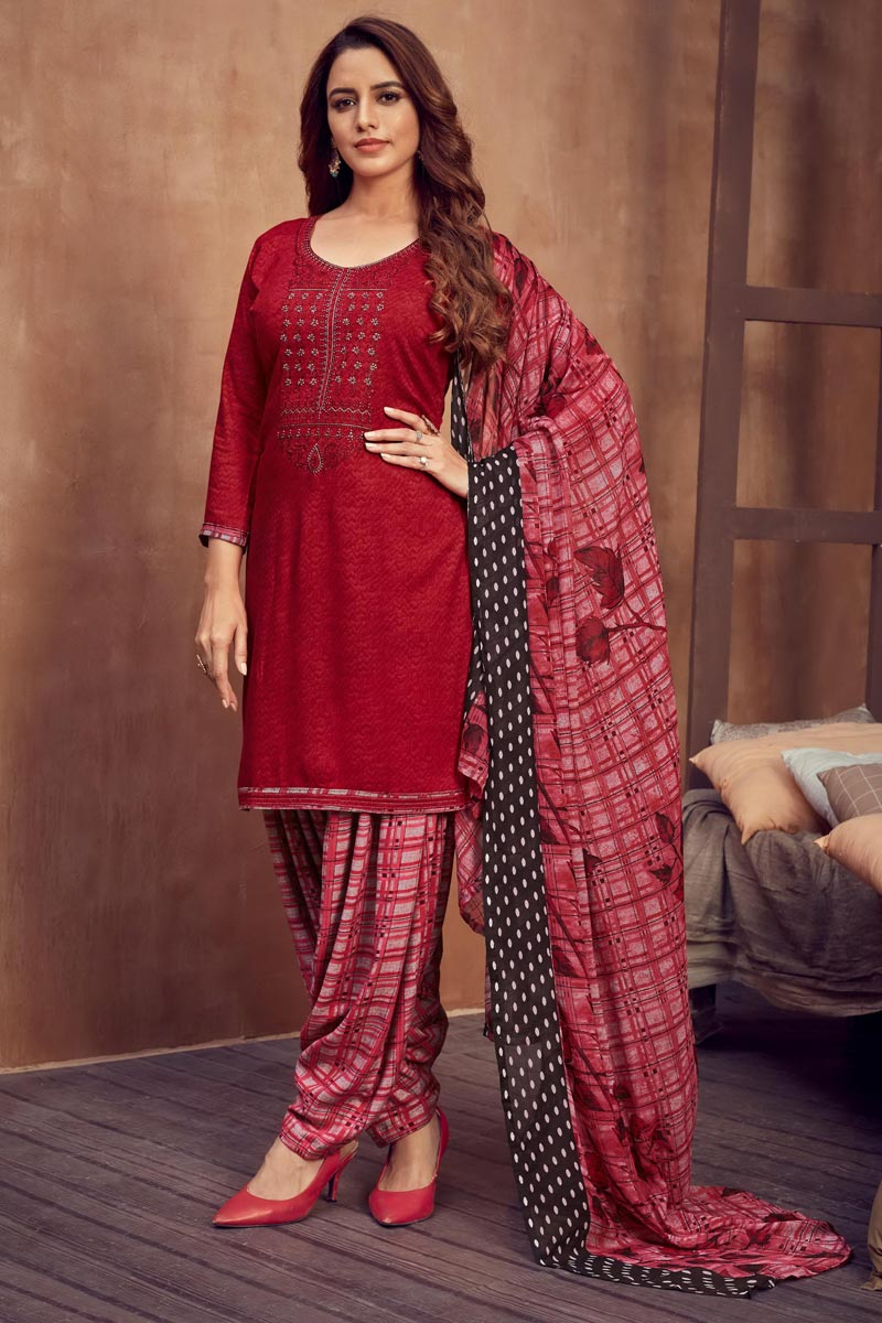 Fancy Red Color Casual Wear Embroidered Rayon Fabric Patiala Suit