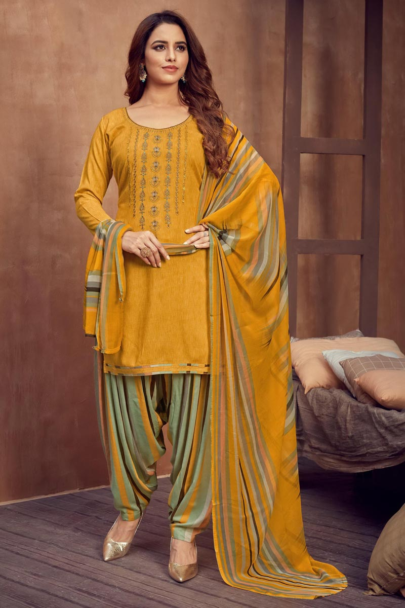 Mustard Color Casual Wear Fancy Embroidered Rayon Fabric Patiala Dress