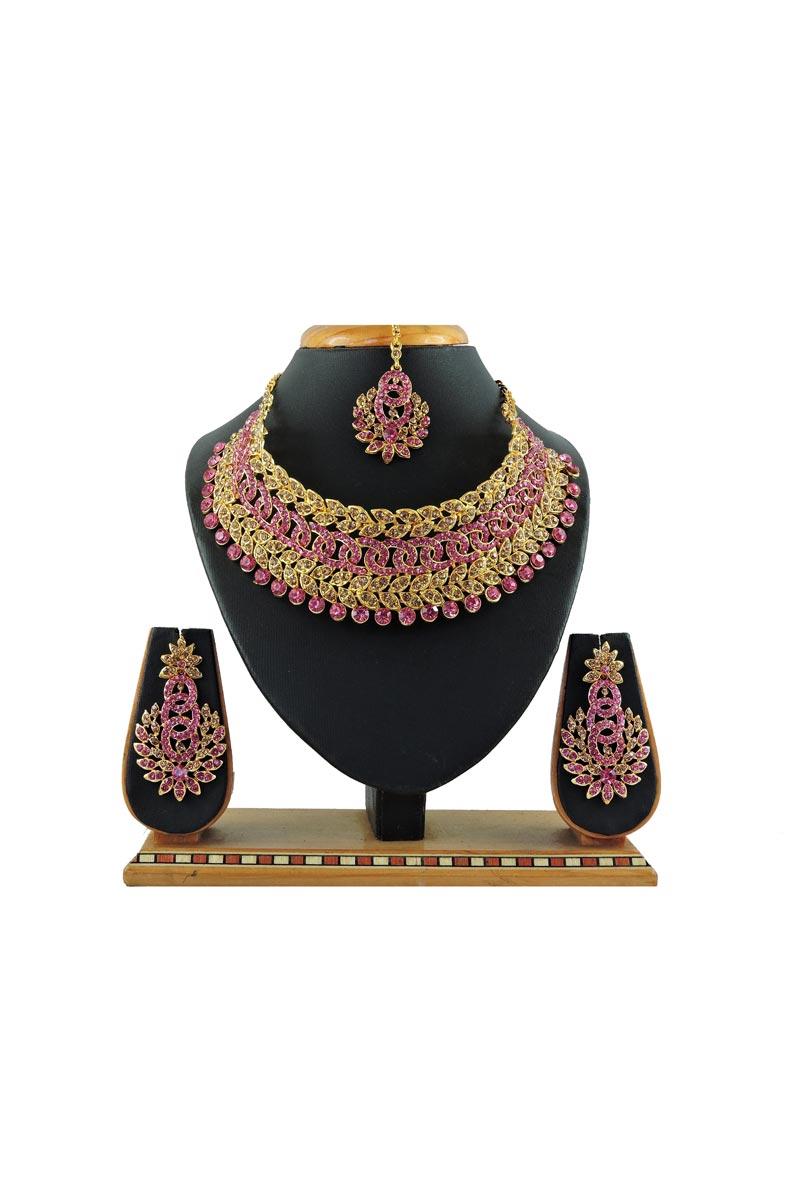 Bridal Wear Beguiling Alloy Metal Pink Color Necklace Set