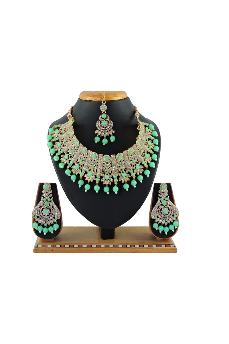 Beguiling Bridal Wear Alloy Metal Light Cyan Color Necklace Set