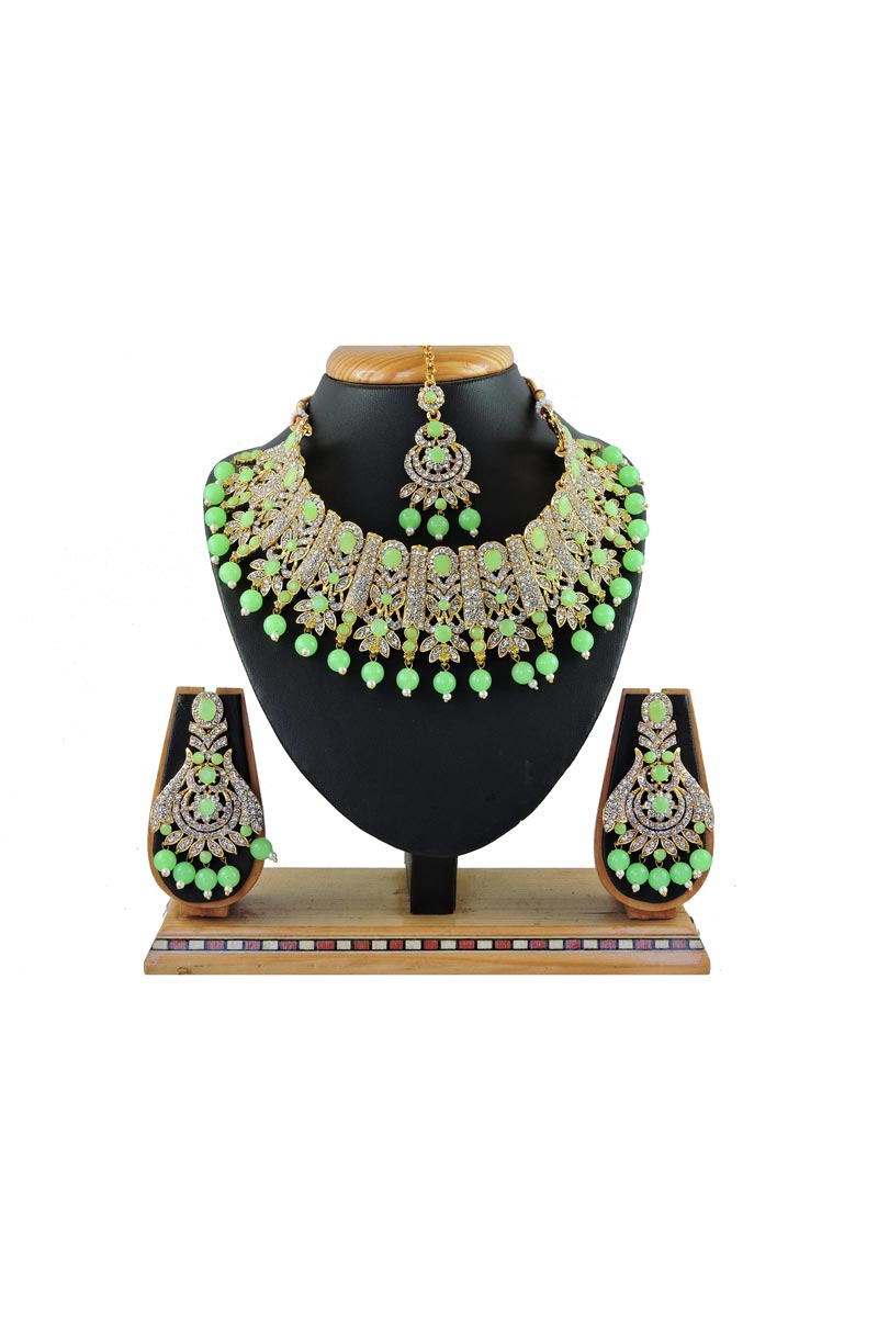 Alloy Metal Sea Green Color Bridal Wear Beguiling Necklace Set