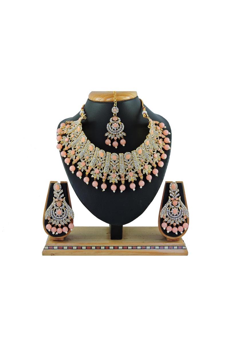 Elegant Peach Color Wedding Wear Alloy Metal Necklace Set