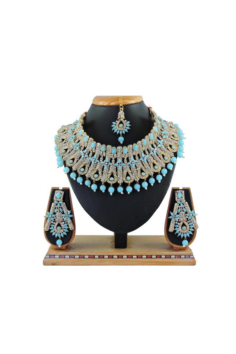Wedding Wear Elegant Alloy Metal Light Blue Color Necklace Set