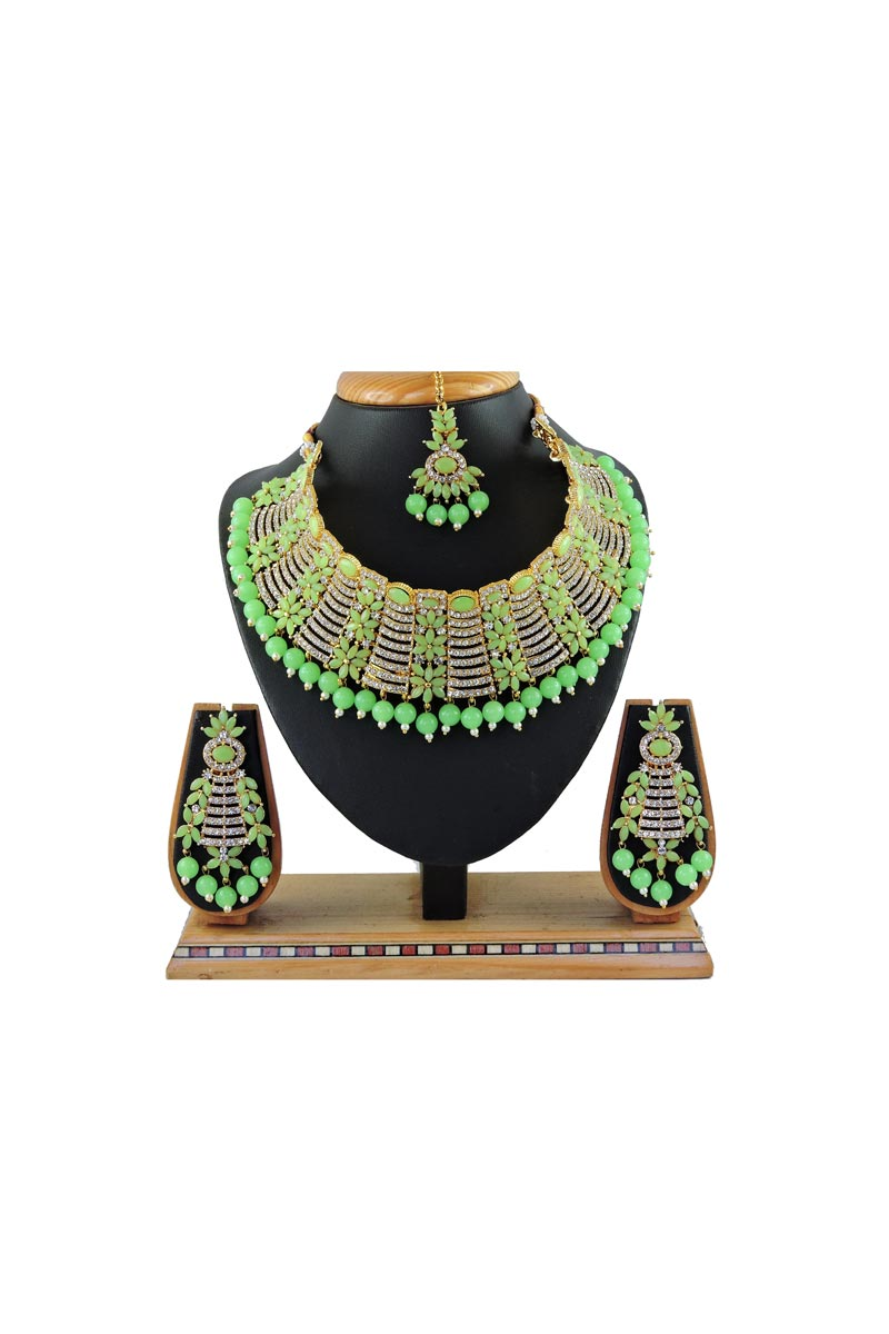 Alloy Metal Sea Green Color Wedding Wear Elegant Necklace Set