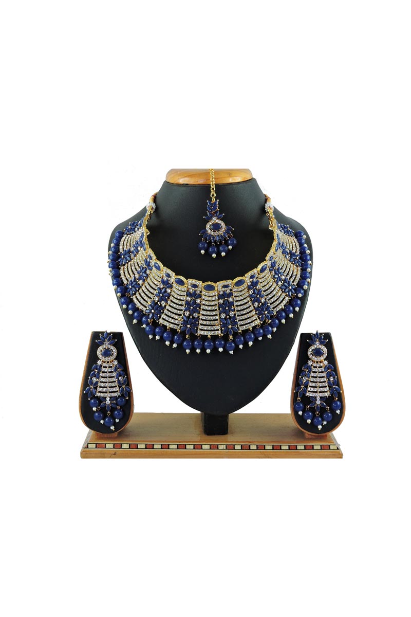 Blue Color Bridal Wear Classic Alloy Metal Necklace Set