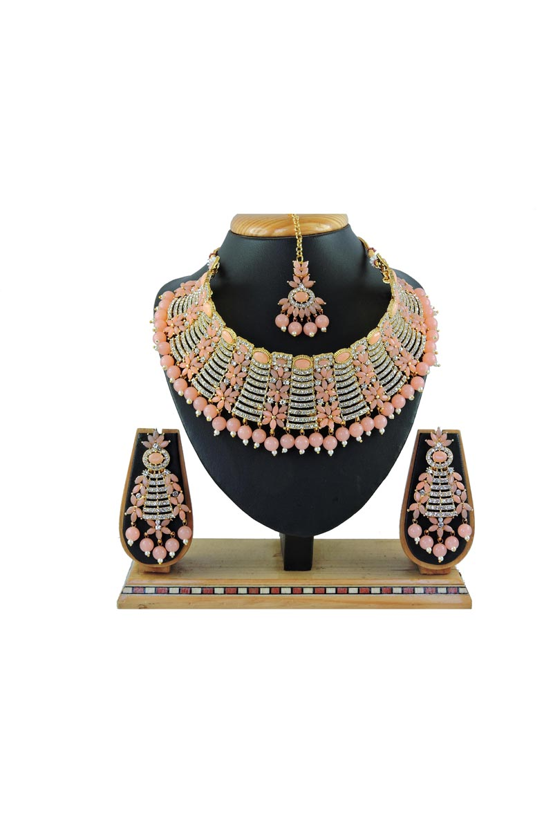 Classic Peach Color Bridal Wear Alloy Metal Necklace Set